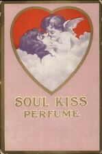 Soul Kiss Perfume Cherub & Beautiful Woman Art Nouveau c1910 Postcard gfz