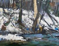"""New England Winter Rushing Stream Snowbank Trees Oil on Canvas Board 11""""x 14."""""""