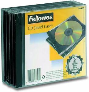 Fellowes 98305 Blank Cd Jewel Case - Black (Pack of 5)