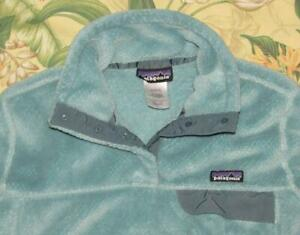 Womens PATAGONIA Blue Re Tool Snap T Fleece Jacket Large L