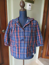 Womens Roxy Navy Blue & Orange Plaid 3/4 Sleeve Hooded Jacket SZ Junior M Mint