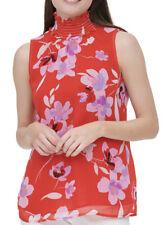 NWT Women's Calvin Klein Sleeveless Red Floral Smocked Neck Top Sz Large