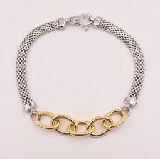 Italian Oval Rolo Link Mesh Filigree Bracelet 14K White Yellow Gold Clad Silver