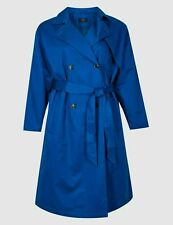 M&S Curve Blue Belted Trenchcoat With Stormwear Size 22 BNWT