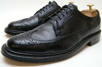 MENS VTG WALK OVER BLK LONG WINGTIP PEBBLE LEATHER OXFORD DRESS SHOES 10.5~1/2 D
