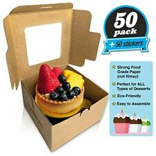 50 Pack Bakery Boxes with Window Kraft Cupcake Container4x4x2.5in. Big Sale!