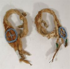 ca1900 NATIVE AMERICAN SIOUX INDIAN ERMINE PELT BEADED CEREMONIAL ARMBANDS