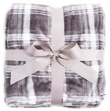 "New 50"" x 60"" Fleece Lined Tartan Plaid Flannel Winter Bed Couch Blanket Throws"