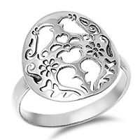 Women's Cutout Love Bird Heart Promise Ring .925 Sterling Silver Band Sizes 5-10