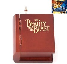 JAPAN SANKYO {BEAUTY AND THE BEAST} WOODEN BOOK DESIGN HAND CRANK MUSIC BOX