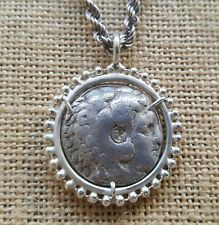 Authentic Ancient Tetradrachm Coin of Alexander The Great 925 Silver Necklace