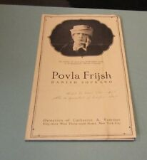 1920 Era Povla Frijsh Danish Soprano Classical Singer New York Show Promo Flyer