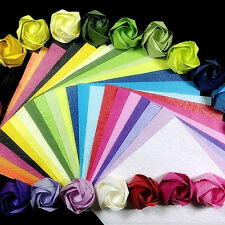 100 Square Double Sided Origami Folding Lucky Wish Paper Crane Craft Color Sheet
