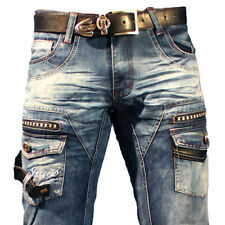 K&M KOSMO LUPO LEATHER  MENS JEANS DENIM W29-L32