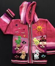 Child's Arpillera Handmade Peruvian Sweater From Peru Pink 3T