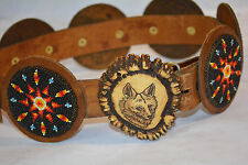 """Sioux Beaded Belt and Scrimshaw ELK horn Buckle Belt 30""""with  7 """"3"""" dia Conchos"""
