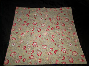 Pottery Barn Remy Euro Pillow Sham Pair Sage Green Red Floral Striped Reversible
