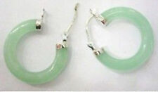 charming jewelry soild green jade Hoop earring