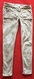 Womens Abercrombie & Fitch Size 2 Waist 26 Beige Denim Zipper Legs Closure Jeans