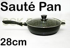 28cm Non-Stick Coated SAUTE Frying Pan Sauce Fry with Glass Lid Induction Base