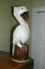 "COTTAGE STYLE HANDCRAFTED SOLID WOOD LARGE 12"" TALL WHITE PELICAN W/ ROPE ACCENT"