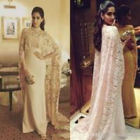 Arabic Lace Satin Muslim Formal Prom Gowns Evening Dresses Party Custom Made