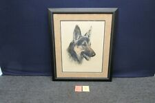 Kurt Meyer Eberhardt Lead Pencil Drawing German Shepard Original Etching Framed