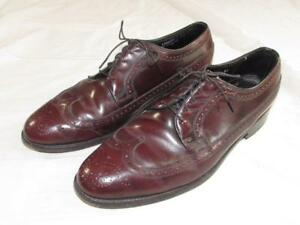 Florsheim Burgundy Longwing Wing Tip Leather Dress Shoes Sz 10.5 D Nice Shape!