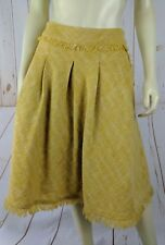 Maeve Skirt 8 Anthropologie Yellow Acrylic Poly Wool Pleat Lined Pockets Fringe