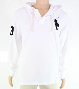 Polo Ralph Lauren Mens Hoodie White Navy Blue Size XS Mesh Embroidered $138- 319