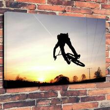 "Sunset Bmx Jinete Impreso Cuadro Lienzo A1.30""x20"" 30 mm Marco Profundo trucos acrobacias"