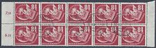 GERMANY 1950 STAMP EXHIBITION Sc B21a BLOCK OF 10 WITH MGN