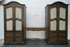 French Pair of Tall Armoires Wardrobes Cabinets with a Desk by Hickory 1543