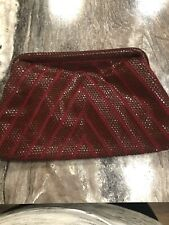 Lumured Original Red Clutch Evening Bag Faux Beaded Studded Geometric