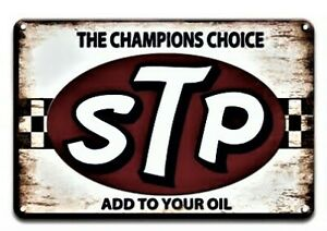 STP Champions Choice Tin Sign (Man Cave Garage Den Ford Mopar Blue Oval Bow Tie)