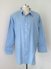 Euc Vtg 60s Preppy Collegiate Blue Green Pinstripe Dress Shirt French Cuffs 2Xl