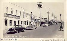 OCEAN LAKE OREGON STREET SCENE SHOPS + SIGNS 1950 RPPC Photo Postcard