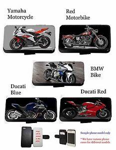 Motorbike case bike leather flip wallet phone case for Huawei Samsung