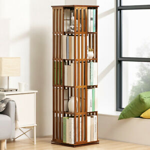 Space Saving Rotating Bookshelf Modern Style 5 Tiers