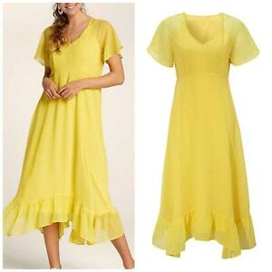 CELLBES Yellow Dobby Scoop Neck Floaty Summer Dress