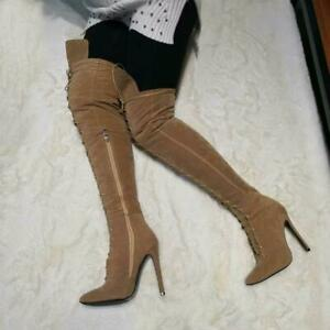 HIGH QUALITY Women's Over the Knee Boots Pointy Toe High Heels Party Boots Shoes