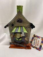 VTG HALLOWEEN Tealight Votive Candle Holder Witch Bat Haunted House Metal