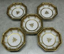 set of 5 Nippon Antique Berry Dessert Bowls WHITE GOLD BROWN IVORY hand painted