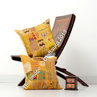 "Indian Yellow Patchwork Embroidered Pillows Cushion Throw Pillow Cover 16"" Pair"