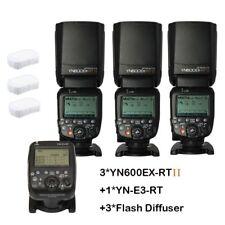 Yongnuo 3X YN600EX-RT II Speedlite Flash + YN-E3-RT Trigger for Canon Camera UK