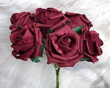 6 Burgundy Poly Foam Top Quality Roses 7cm Head Wedding Flowers Table Decoration
