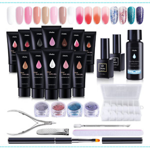 Nail Gel Kit 12 Colors Poly Nail Gel Kit, Ohuhu Enhancement Builder with 4 Tempe
