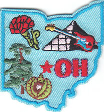 """OH"" - OHIO STATE SHAPE - Iron On Embroidered Applique Patch/Midwestern State,"