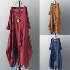 ZANZEA Women Shirt Dress Waterfall Plaid Check Shirt Tops Round Neck Blouse Plus