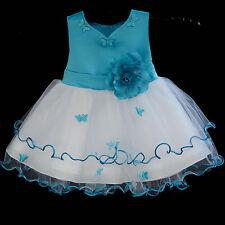 WHITE BABY FLOWER GIRL DRESS WEDDING PAGEANT TODDLER KIDS RECITAL 6-9M 12-18M 2